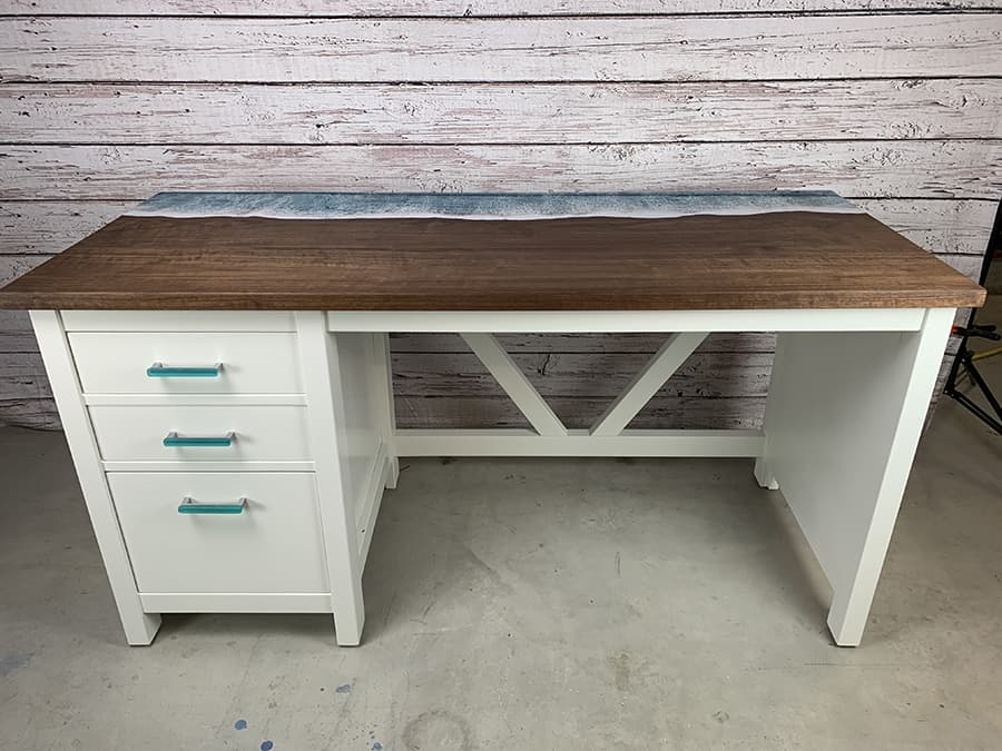 Custom Desk to Fit a Girl's Beachy Cottage-Themed Room in Ramona