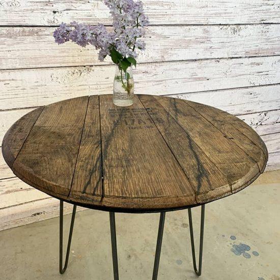 bourbon barrel table side table