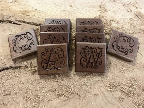 walnut monogram coasters